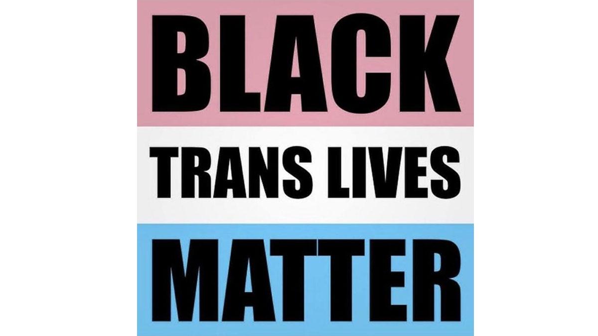 """""""Black Trans Lives Matter"""" written over trans flag"""