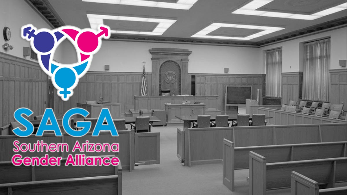 SAGA logo over photo of black and white courtroom
